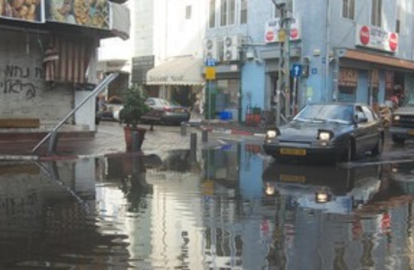 Flooded street Tel Aviv 311 (photo credit: JOANNA PARASZCZUK)
