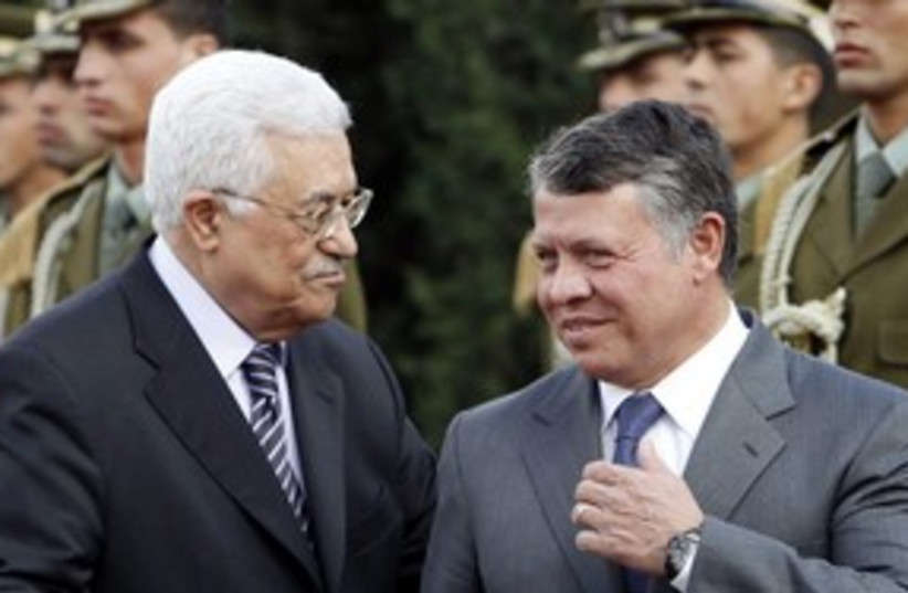 Jordan's King Abdullah II with Abbas_311 (photo credit: Reuters/Mohamad Torokman)