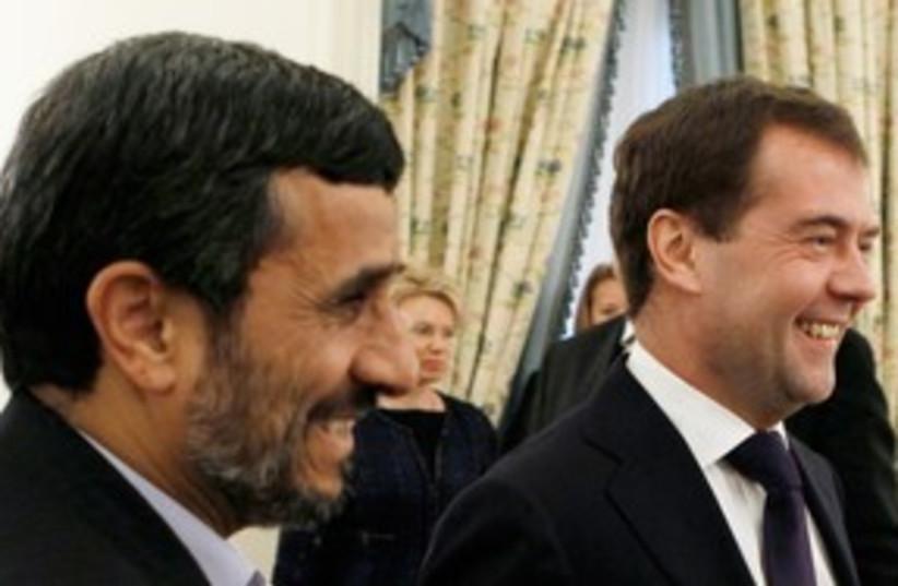Russia's Medvedev, Iran's Ahmadinejad, Baku_311 (photo credit: Reuters/RIA Novosti)
