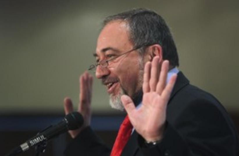FM Liberman speaks during Yisrael Beitenu meeting_311 (photo credit: REUTERS/Ronen Zvulun)