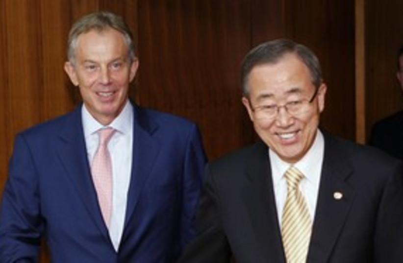 UN Sec.-Gen. Ban Ki-moon and Quartet envoy Tony Blair 311 (R (photo credit: Chip East / Reuters)