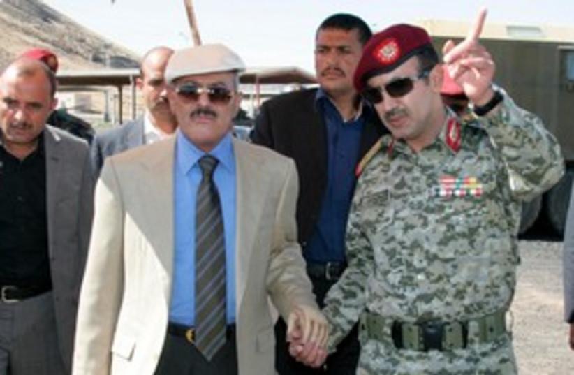 Yemen's President Ali Abdullah Saleh 311 (R) (photo credit: REUTERS)