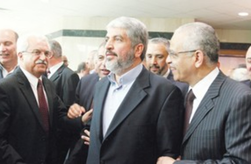 Khaled Mashaal in Cairo after reconcilliation agreement_311 (photo credit: Reuters)