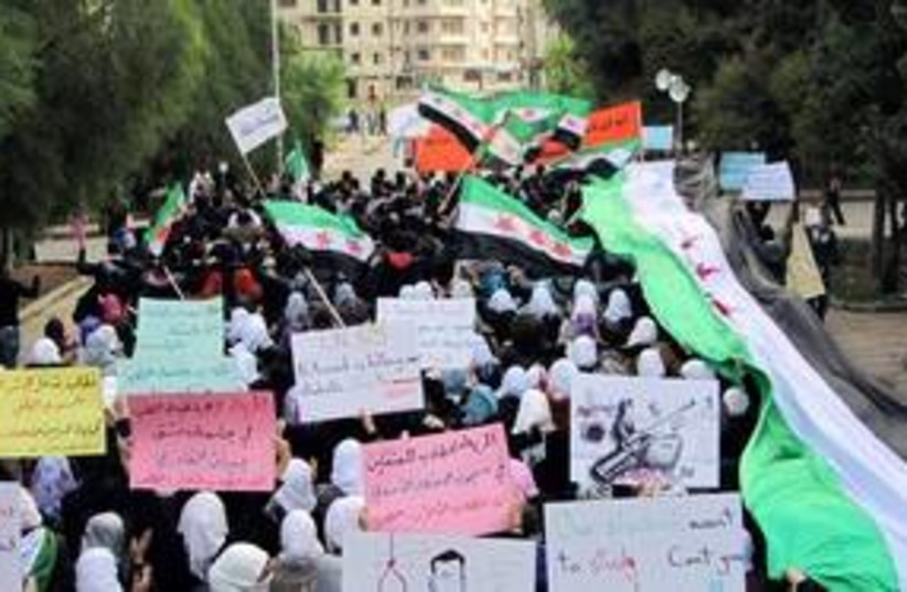 Anti-Assad protests in Homs, Syria 311 (R) (photo credit: REUTERS/Handout )
