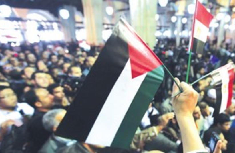 Man holds Palestinian and Egyptian flags at Cairo rally 311 (photo credit: REUTERS)