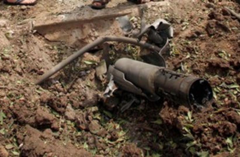 Remains of Katyusha rocket 311 (photo credit: Reuters)