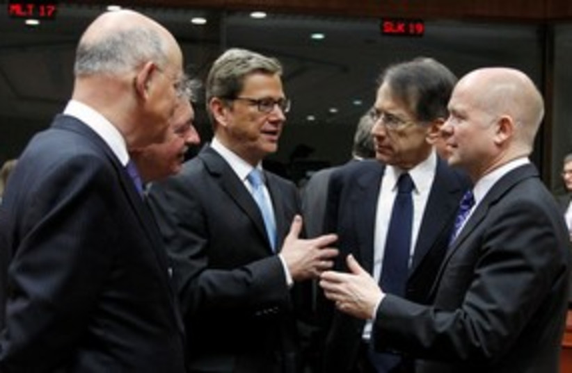 European foreign ministers ahead of EU meeting 311 (R) (photo credit: REUTERS/Thierry Roge)