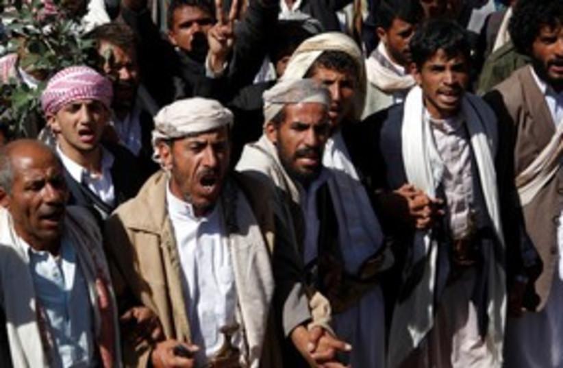 Yemen protesters 311 R (photo credit: REUTERS/Khaled Abdullah )