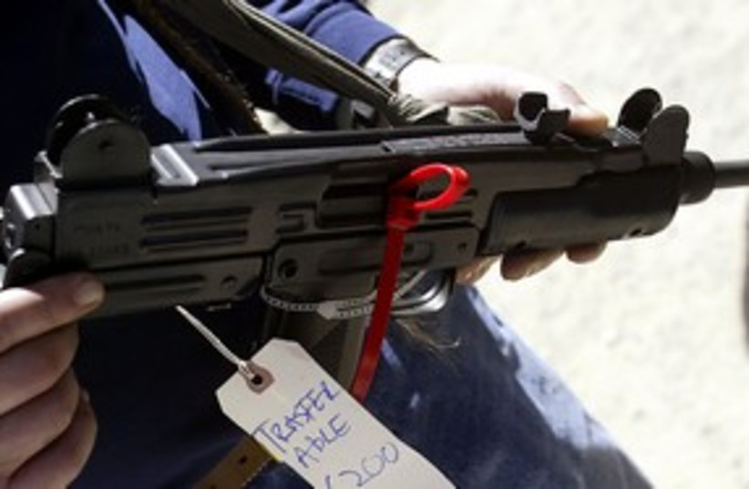 Uzi model submachine gun 311 R (photo credit: Reuters)