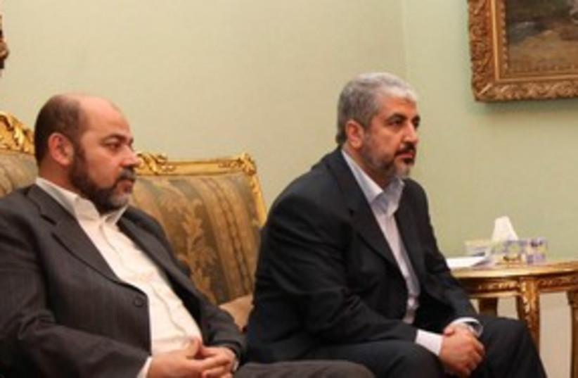 Hamas leader Khaled Mashaal 311 (R) (photo credit: REUTERS/Mohamed Al Hams/Handout)