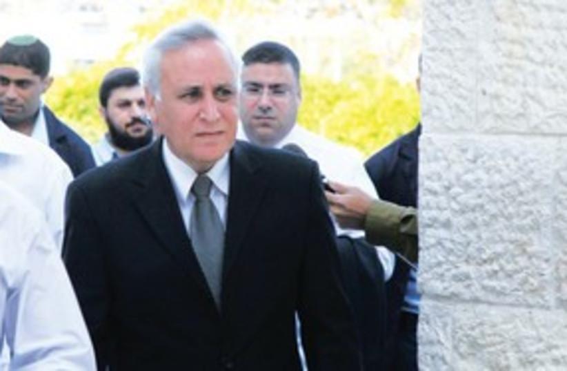 Moshe Katsav walking into court 311 (photo credit: Marc Israel Sellem/The Jerusalem Post))