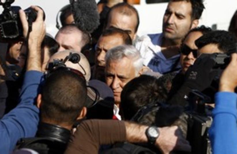 Media surrounds Moshe Katsav_311 (photo credit: Reuters)