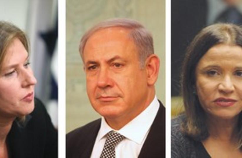 party leaders netanyahu livni yacimovich 311 (photo credit: Marc Israel Sellem)