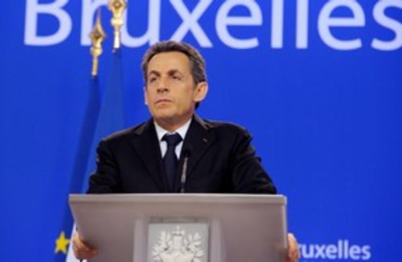 French President Nicolas Sarkozy 311 (R) (photo credit: REUTERS/Philippe Wojazer)