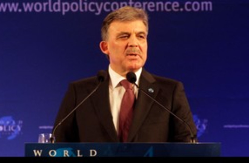 Gul 311 R (photo credit: Turkey's President Abdullah Gul makes a speech at )