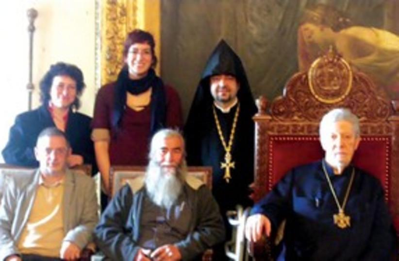 CITY COUNCILORS meet Armenian Patriarch Archbishop 311 (photo credit: Courtesy of Meir Margalit)