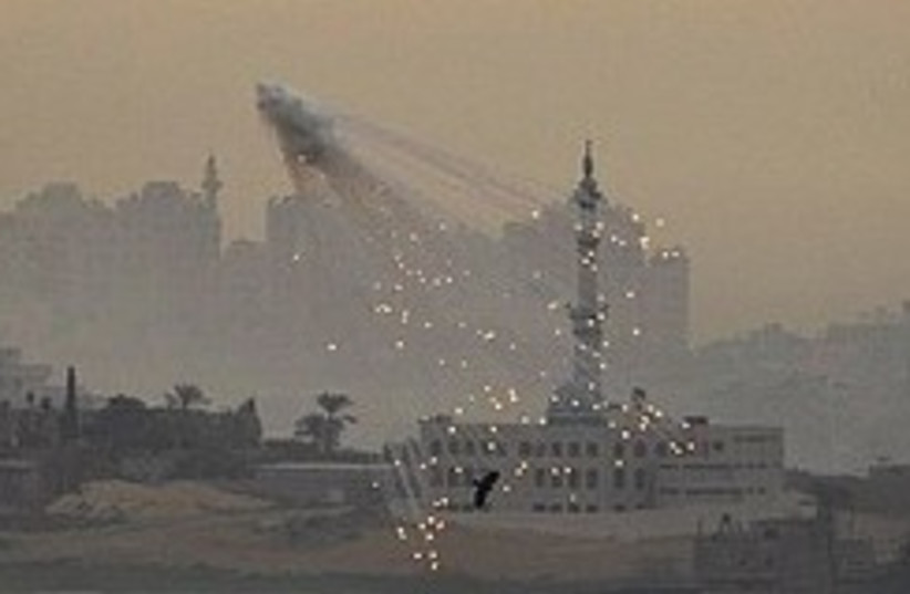 Explosion from IDF artillery fire in Gaza during Cast Lead.  (photo credit: AP)