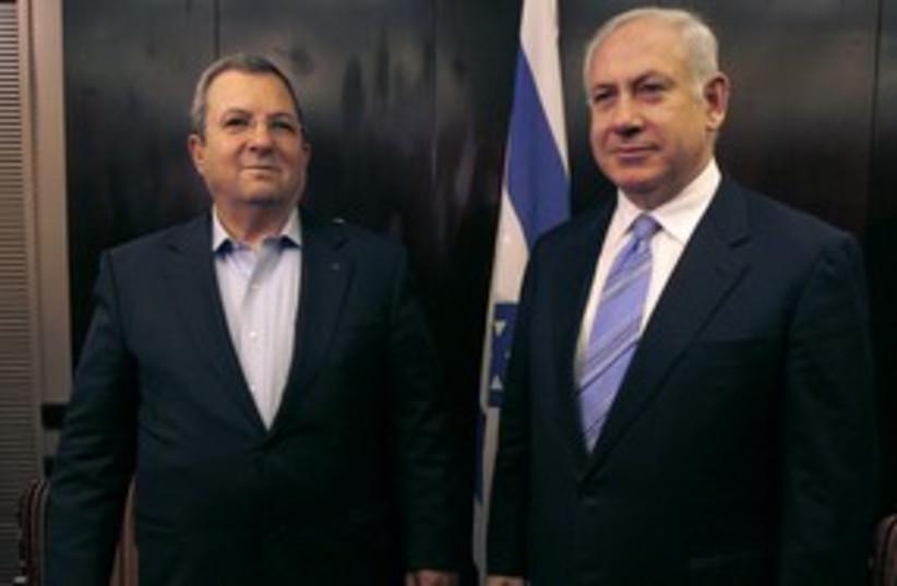 Prime Minister Netanyahu with Defense Minister Barak 311 (R) (photo credit: Ammar Awad / Reuters)