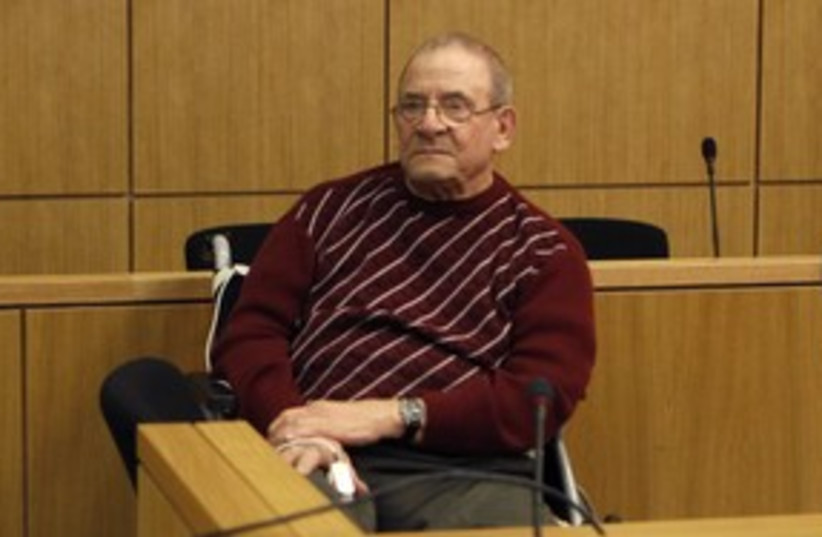Convicted Nazi hitman Heinrich Boere at trial 311 (R) (photo credit: Ina Fassbender / Reuters)