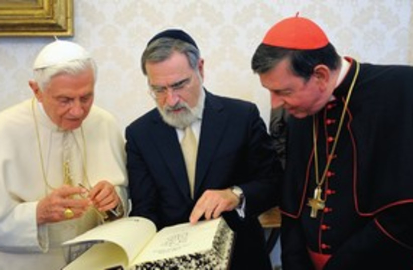 Pope Benedict, Jonathan Sacks 311 (photo credit: (L'Osservatore Romano/Reuters))