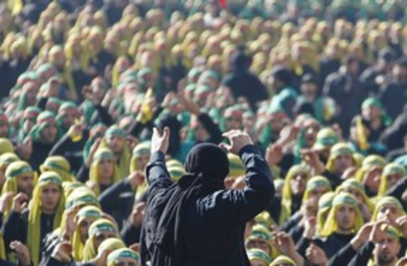 Hezbollah supporters in Beirut 311 (R) (photo credit: REUTERS)