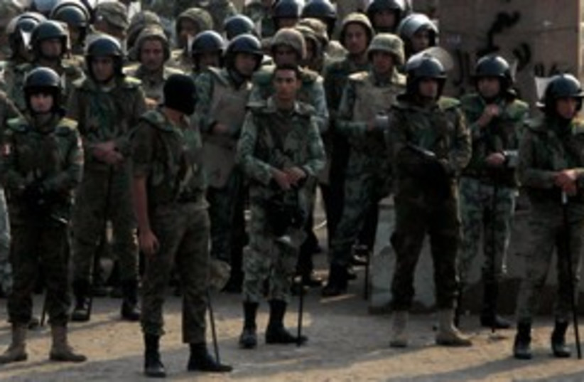 Egpytian soldiers in Tahrir Square 311 (photo credit: REUTERS)