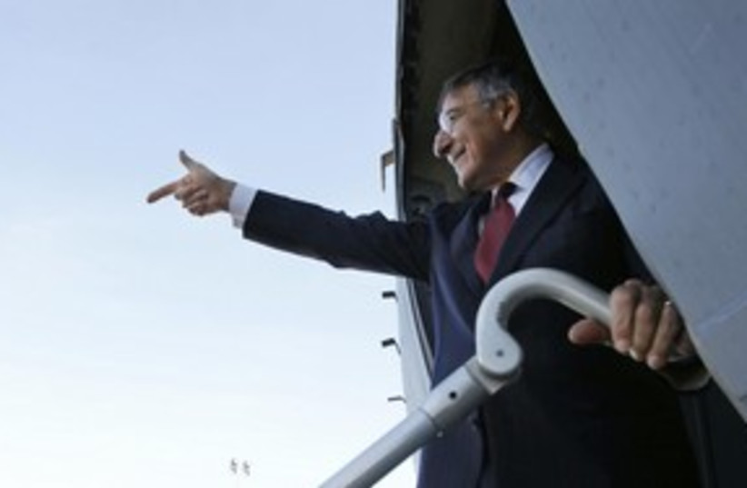 US Secretary of Defence Panetta departing Tripoli_311 (photo credit: Reuters)