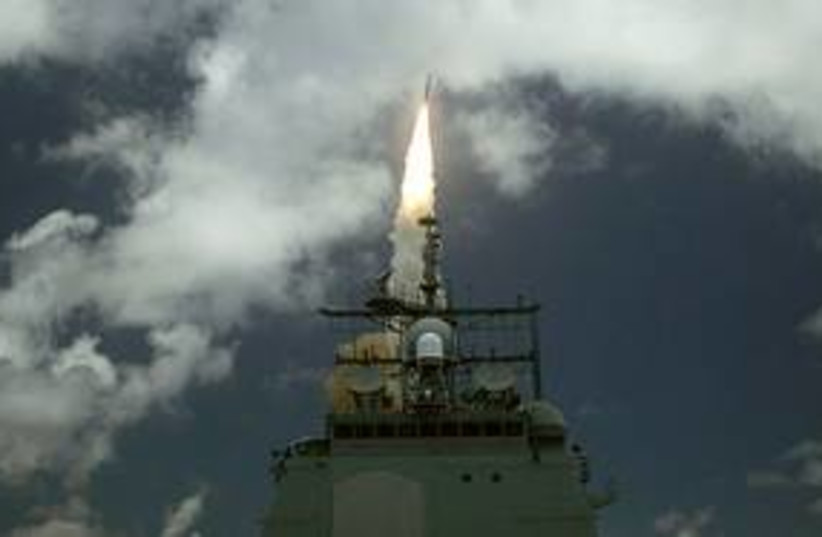 A launch in a US missile defense drill 311 (photo credit: US Navy)