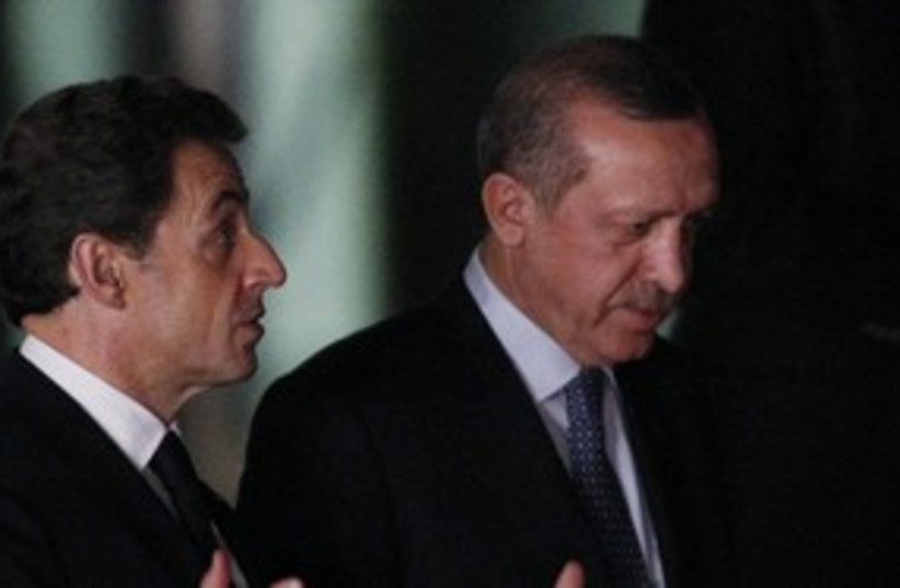 Erdogan and Sarkozy R 311 (photo credit: REUTERS/Umit Bektas)