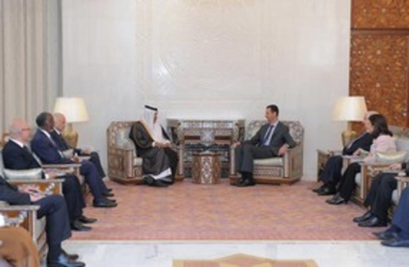Assad meets with Arab League ministerial team 311 R (photo credit: REUTERS/Sana Sana)