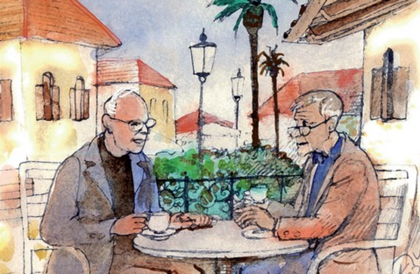 men at cafe painting 521 (photo credit: Avi Katz)