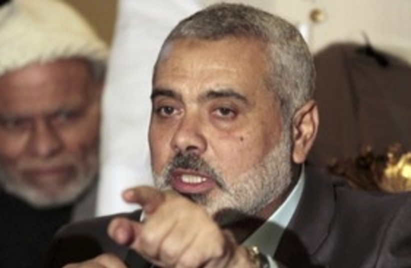 Ismail Haniyeh in Egypt, talking_311 (photo credit: Reuters)