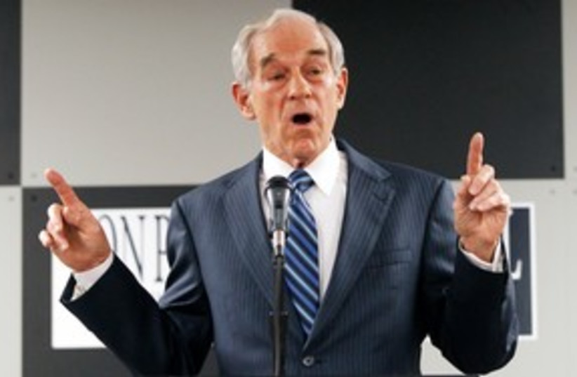 Republican presidential candidate Ron Paul 311 (photo credit: REUTERS/Jeff Haynes )