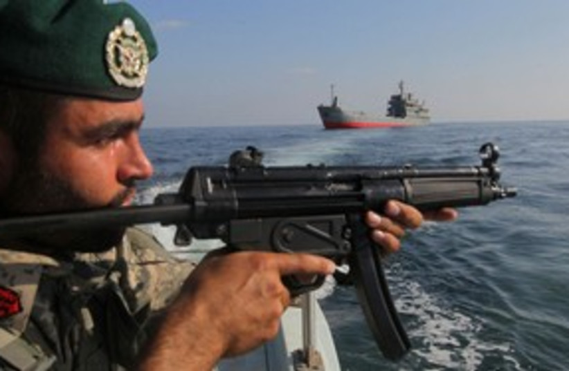 Iranian military in the Strait of Hormuz 311 (R) (photo credit: REUTERS/Fars News/Hamed Jafarnejad)