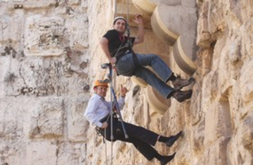 Barkat repelling 311 (photo credit: Marc Israel Sellem / The Jerusalem Post)