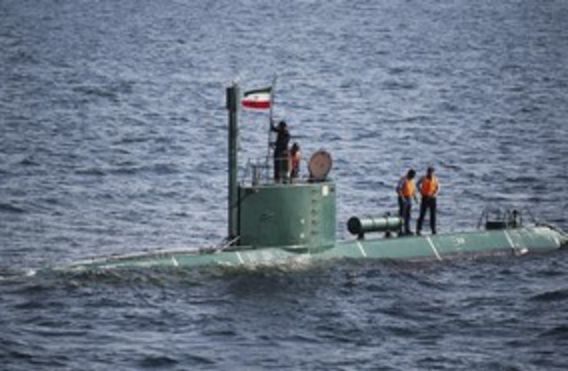 Iranian submarine in Strait of Hormuz 311 (photo credit: REUTERS/Stringer Iran)