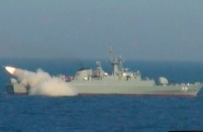 Iranian warship launches a missile 311 (R) (photo credit: REUTERS/IRIB via Reuters TV)
