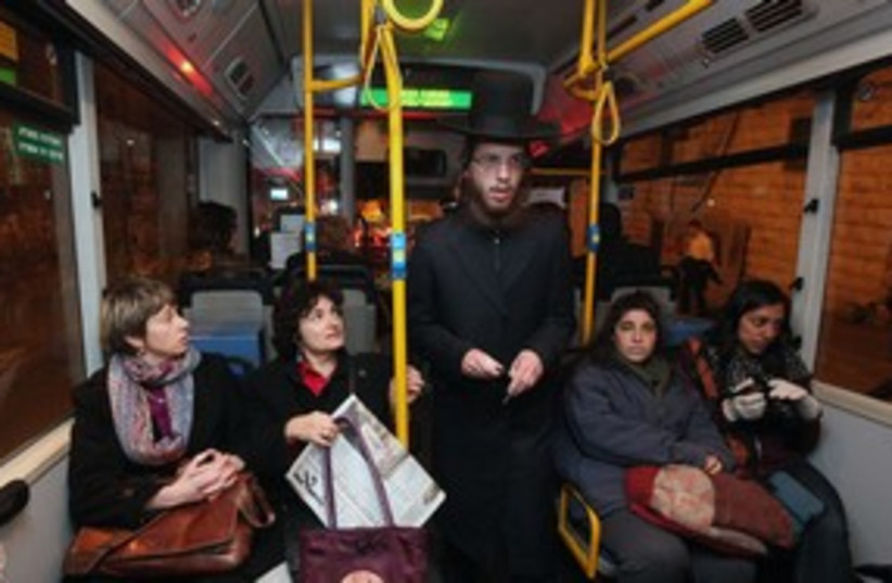 Haredi bus protest with women 311  (photo credit: Marc Israel Sellem)