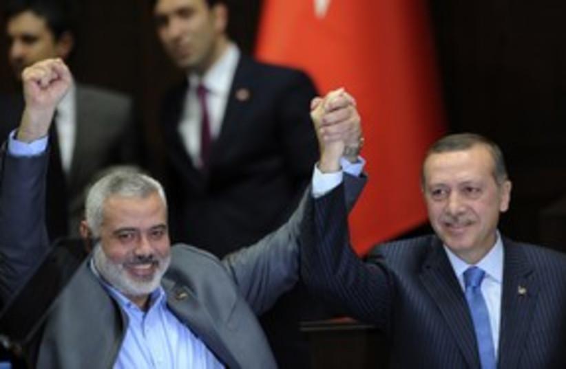 Hamas PM Ismail Haniyeh, Turkish PM  Erdogan_311 (photo credit: Stringer/Reuters)