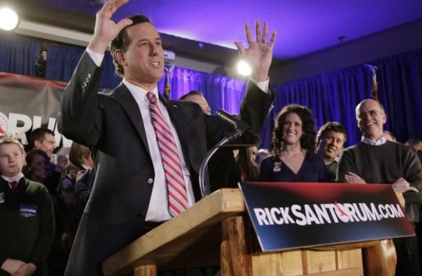 Republican candidate Rick Santorum (photo credit: REUTERS/John Gress)