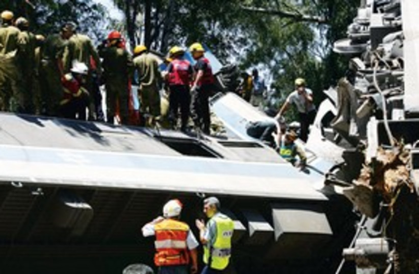 train accident in Beit Yehoshua 311 (photo credit: REUTERS)
