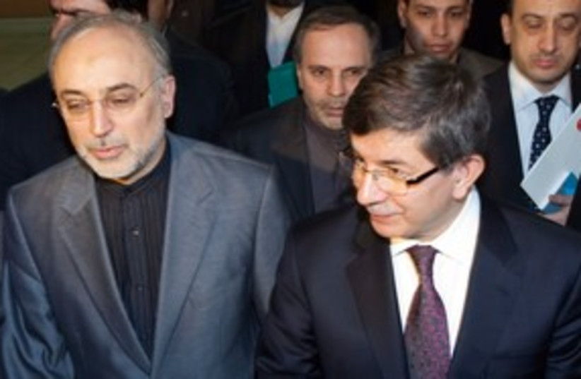 Davutoglu and Salehi 311 (photo credit: REUTERS)