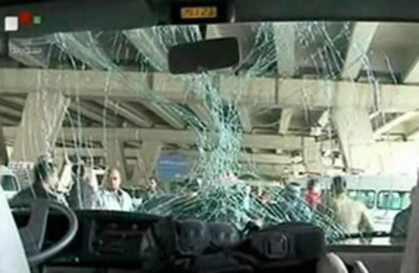 Bus damage in Syrian suicide bombing 311 (photo credit: REUTERS/SYRIAN TV )