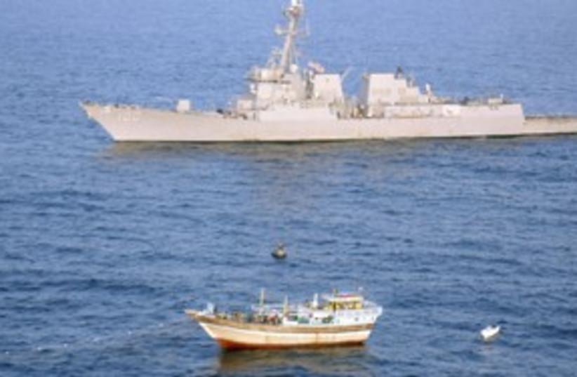 Iranian-flagged fishing dhow  in Arabian Sea R 311 (photo credit: REUTERS)