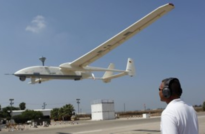 IAI instructor controls drone R 311 (photo credit: REUTERS)