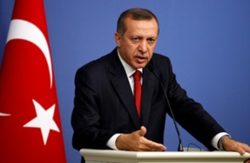 Turkish Prime Minister Recep Tayyip Erdogan 311 (R) (photo credit: REUTERS/Umit Bektas)
