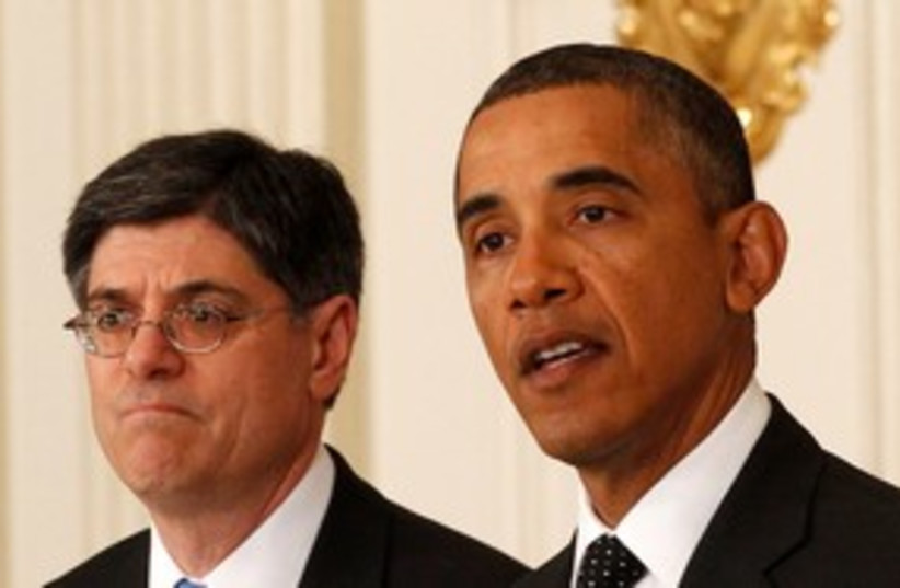 Jack Lew and Obama 311 (photo credit: REUTERS)