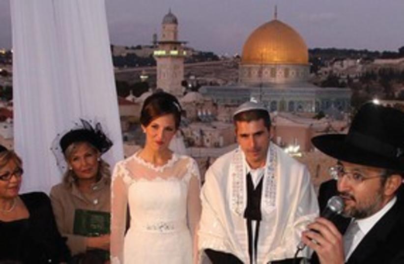 Rabbi preforming wedding in Jerusalem 311 (photo credit: Marc Israel Sellem)