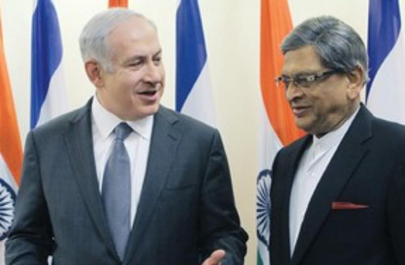 PM Netanyahu and Indian FM S.M. Krishna 311 (photo credit: Alex Kolomyski)