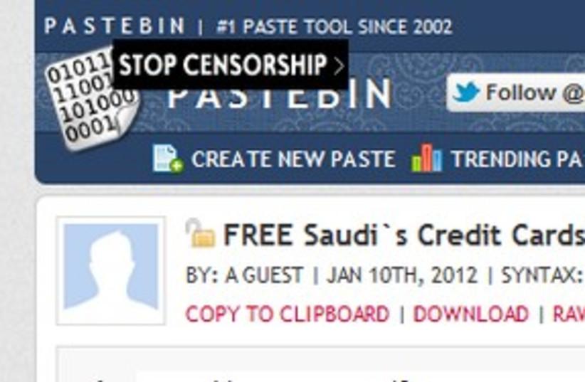 Israeli hacker posts on Pastebin 311 (photo credit: Screenshot)